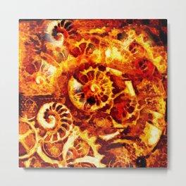Burnt Umber Sea Shell-Clock Work Abstract Painting Metal Print