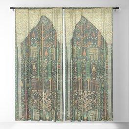 Weeping Willow Antique Bijar Persian Rug Print Sheer Curtain