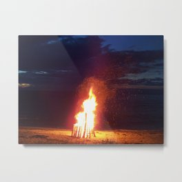 Blazing Beach Bonfire Metal Print