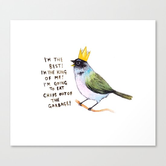 trash bird self affirmations Canvas Print