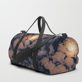 Full moon through purple clouds Duffle Bag