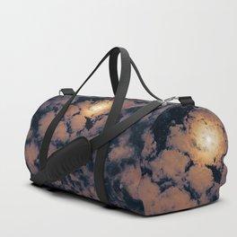 Full moon through purple clouds Duffle Bag