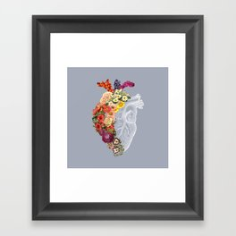 Flower Heart Spring Light Grey Framed Art Print