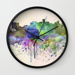 Denver skyline in watercolor background Wall Clock