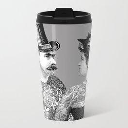 Tattooed Victorian Lovers Metal Travel Mug