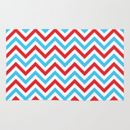 Red and Turquoise Chevron Pattern Rug
