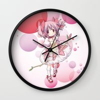 madoka Wall Clocks featuring Madoka Kaname by Yue Graphic Design