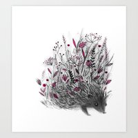 hedgehog Art Prints featuring Hedgehog by Linette No