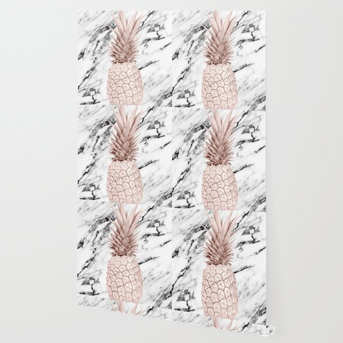 Rose Gold Pineapple On Black And White Marble Wallpaper