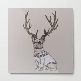 Deer Frenchie Metal Print