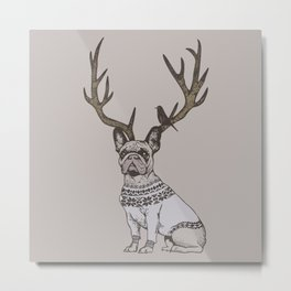 Deer Frenchie Metal Print