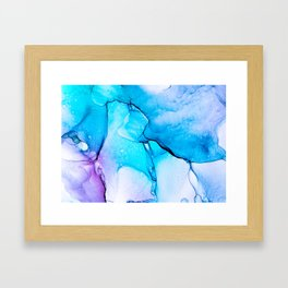 Abstract Alcohol Ink Painting -  Unicorn at Night Framed Art Print