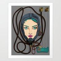 pilot Art Prints featuring Pilot by La Salamandra