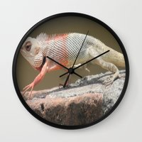 chameleon Wall Clocks featuring Chameleon  by Four Hands Art