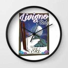 Livigno Italian ski travel poster Wall Clock