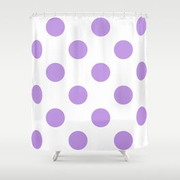 Large Polka Dots - Light Violet on White Shower Curtain