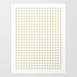 Small Diamonds - White and Pearl Brown Art Print