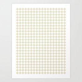 Small Diamonds - White and Pearl Brown Art Print