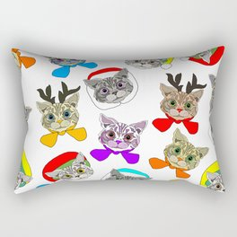 Holiday Festive Party Cats Rectangular Pillow