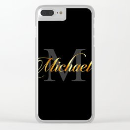 Name and initial of a boy Michael in golden letters Clear iPhone Case