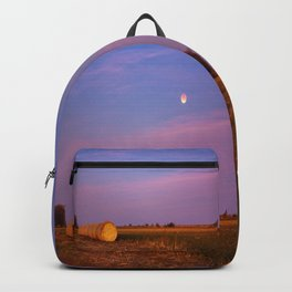 Hay Bales Under the Super Blue Blood Moon in Oklahoma Backpack