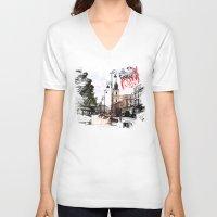 poland V-neck T-shirts featuring Poland - Krawkowskie Przedmiescie, Warsaw by viva la revolucion