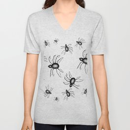 Spiders Everywhere Black and White Halloween Horror Unisex V-Neck