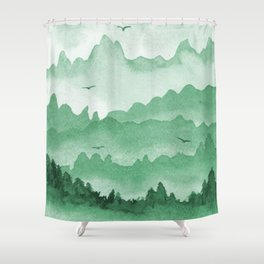 misty mountains - green palette Shower Curtain