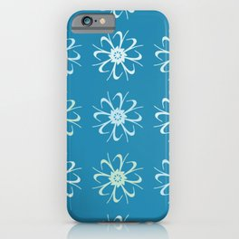 Blue & Green Abstract Floral Pattern iPhone Case