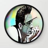 johnny cash Wall Clocks featuring Johnny Cash  by Enna