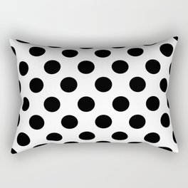 Black and White Medium Polka Dots Rectangular Pillow