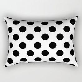 Black and White Medium Polka Dots Rectangular Pillow