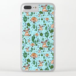 Fennec Foxes in Blue Clear iPhone Case