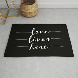 Love Lives Here black and white modern typography minimalism home room wall decor Rug