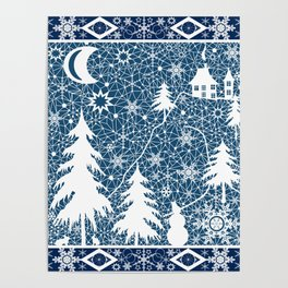 New year's design. Lace fabric . Poster