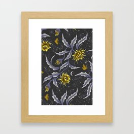Queen of the Night - Grey Yellow Framed Art Print