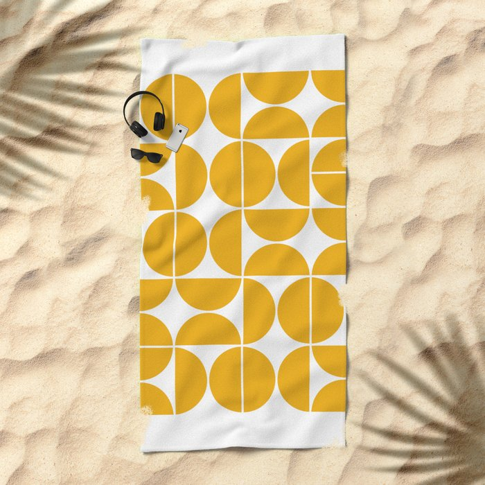 Mid Century Modern Geometric 04 Yellow Beach Towel