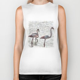 Three Flamingos Watercolor Biker Tank