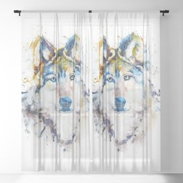Wolf Face Watercolor Portrait Sheer Curtain