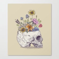 Half Skull Flowers Canvas Print