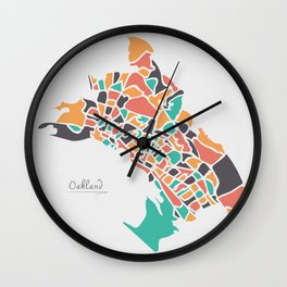 Oakland California Map with neighborhoods and modern round shapes Wall Clock