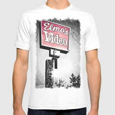Elmo's Video MEDIUM White Mens Fitted Tee