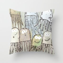 The girl who bikes with no hands Throw Pillow