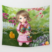 hunting Wall Tapestries featuring ** Easter Eggs hunting ** by ♥  Little Enchanted World ♥