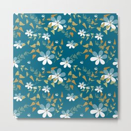 White flowers on a blue background . Metal Print