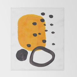 Mid Century Abstract Black & Yellow Fun Pattern Funky Playful Juvenile Shapes Polka Dots Throw Blanket