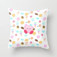 kirby Throw Pillows featuring Kirby & Sweets by poripori