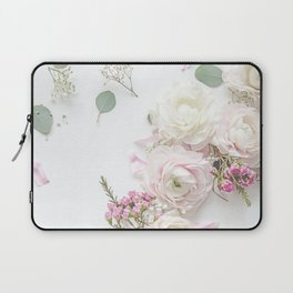 SPRING FLOWERS WHITE & PINK Laptop Sleeve
