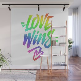 Love Wins Lettering with Rainbow colors Gradient Wall Mural