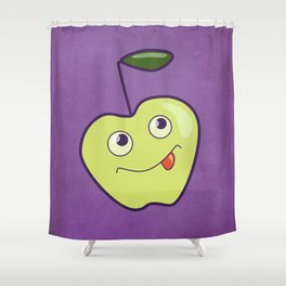 Purple Green Cartoon Apple Shower Curtain